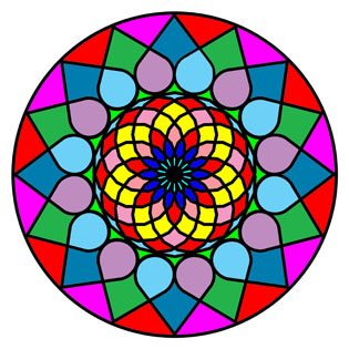 the mandala coloring book sample with many colors