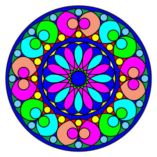 a sample of mandala coloring book filled in with colors