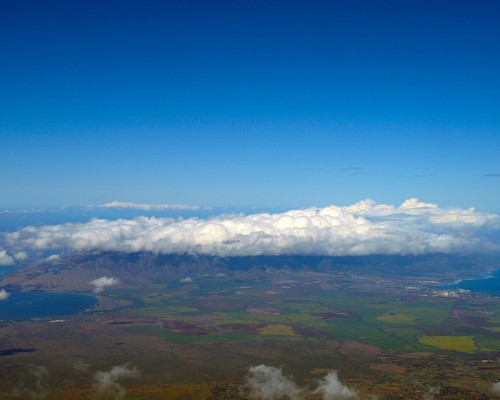 Hawaii photography galleries - an expansive view of the Valley Isle, Maui, Hawaii, from the summit of Haleakala