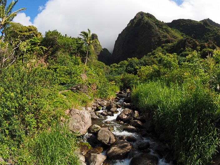 A view of Iao Stream cascading out of the West Maui Mountains