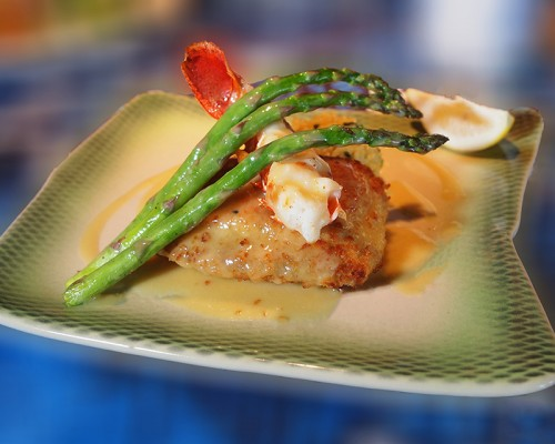 food & product gallery - A view of a Mahi and Lobser dinner plate from Mama's Fish House on Maui, Hawaii