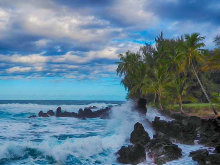 A colorful view of lava rocks and palm trees along the shoreline at Kaenae Peninsula
