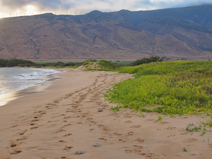A view of the long white sandy beach at the Kealia area in north Kihei, Maui, Hawaii