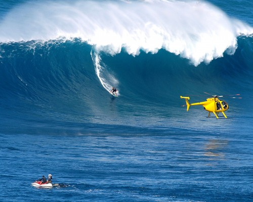 Big waves and surfers at Jaws, Peahi, Maui, Hawaii
