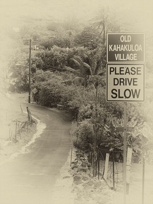a view of the road that enters into old kahakuloa village on Maui, Hawaii