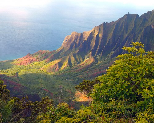 a view of the stunningly gorgeous Kalalau Valley on the island of Kauai, Hawaii