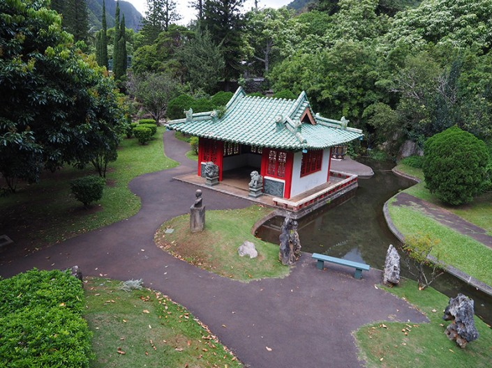 A wide angle view of the Japanese Tea House in Kepaniwai Heritage Gardens, Maui, Hawaii