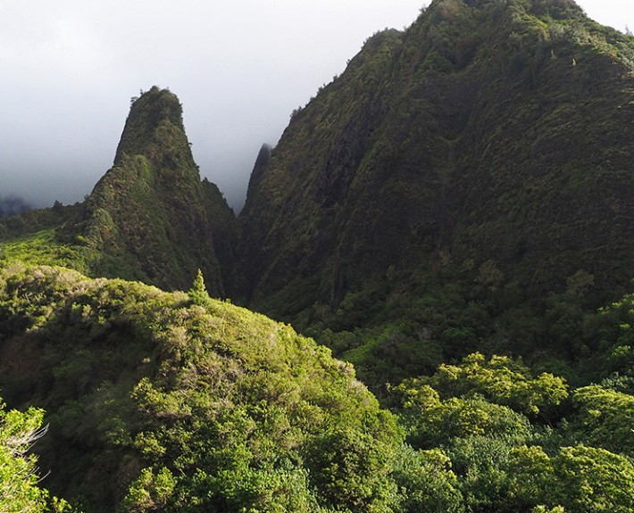 A close view of Iao Needle in Iao Valley State Park