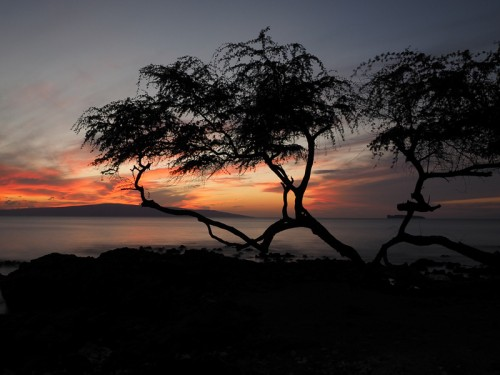 A beautiful, subdued sunset image taken in Makena, Maui, Hawaii