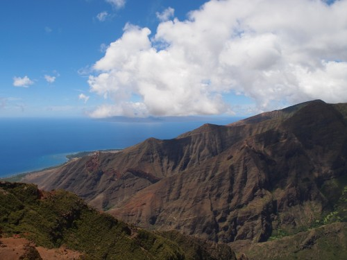A view of west Maui from the top of Ukamehame Ridge on Maui, Hawaii