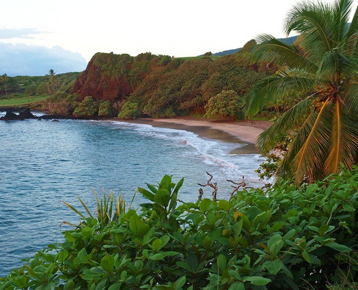 A view of the very popular Hamoa Beach in Hana, Maui