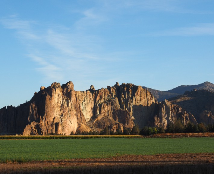 A view of the entrance as one comes upon Smith Rock State Park in central Oregon