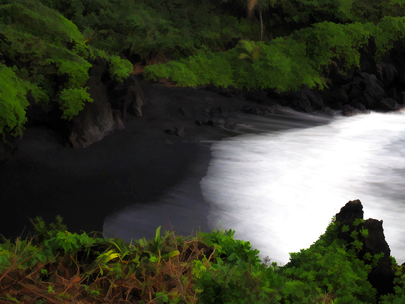 lava coast of Hana, Maui - black sand beach